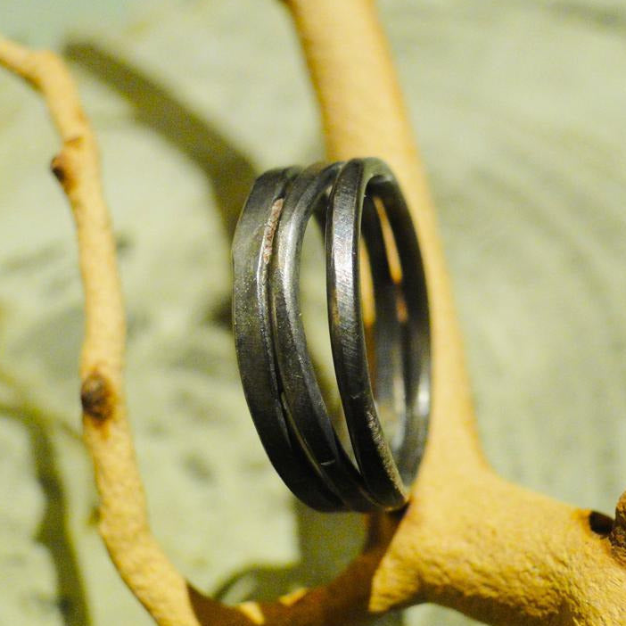 Narrow Stacked Oxidized Sterling Silver Ring