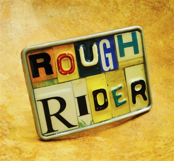 """Rough Rider"" Recycled License Plate Belt Buckle"