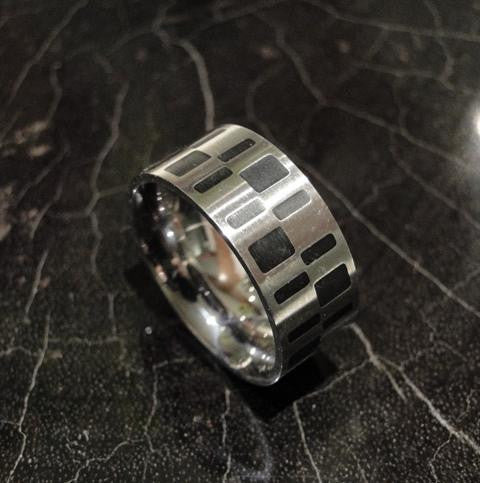 Stainless Steel Matrix Ring With Enamel Inlay