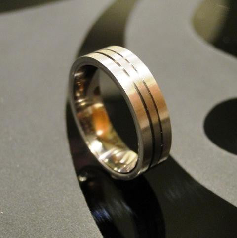 Stainless Steel and Platinum Titan Ring