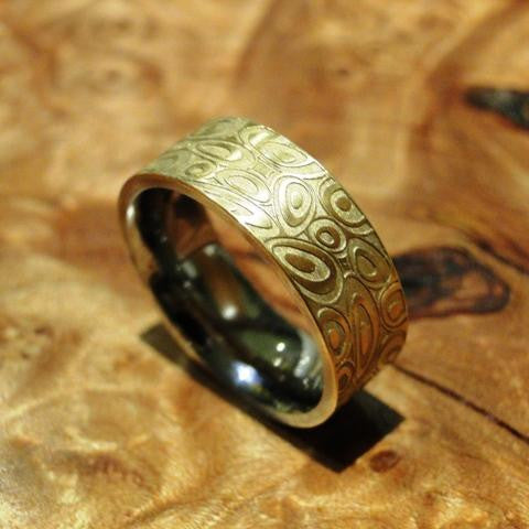 "Stainless Steel and 18K Gold ""Barbarella"" Etched Ring"