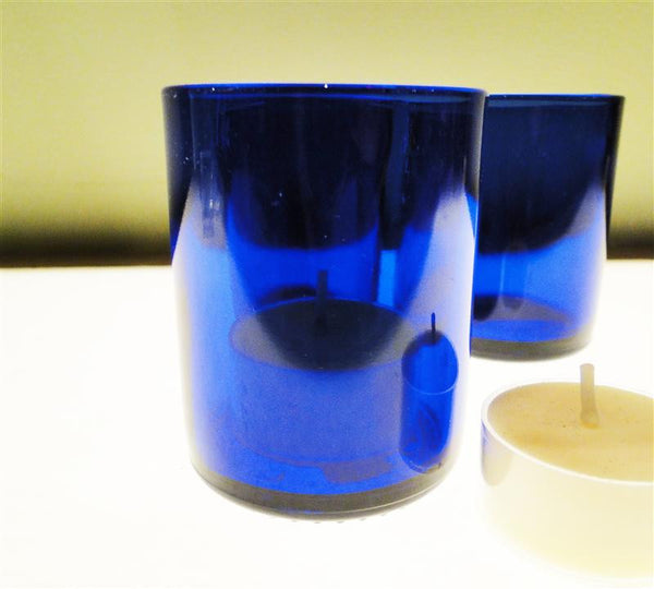 Set of Three Cobalt Recycled Glass Votive Holders