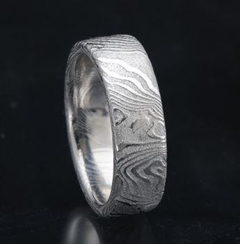 Flat Etched Stainless Steel Mokume Ring