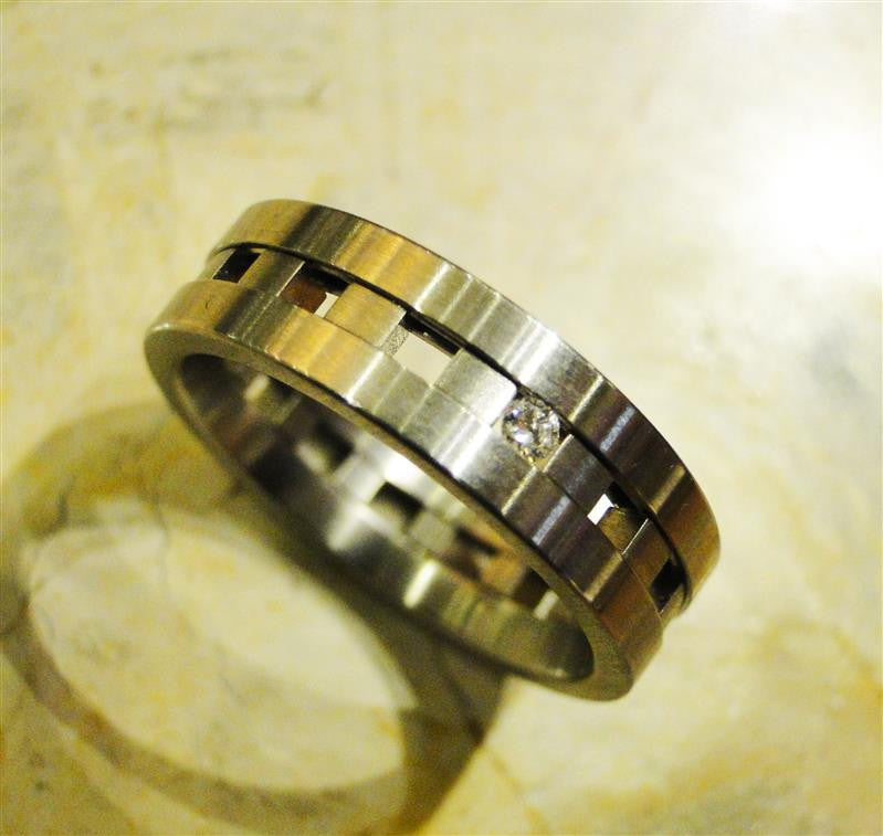 Stainless Steel Cinema Ring with Diamond