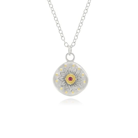 Sunflower Ruby 18K Gold and Sterling Silver Pendant Necklace