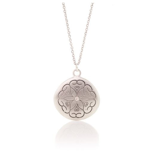 Hearts Sterling Silver and Diamond Pendant Necklace