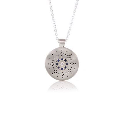 Dreamcatcher Diamond and Sapphires Pendant Necklace