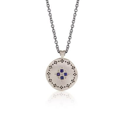 Memories Four Starburst Sapphires and Sterling Silver Pendant Necklace