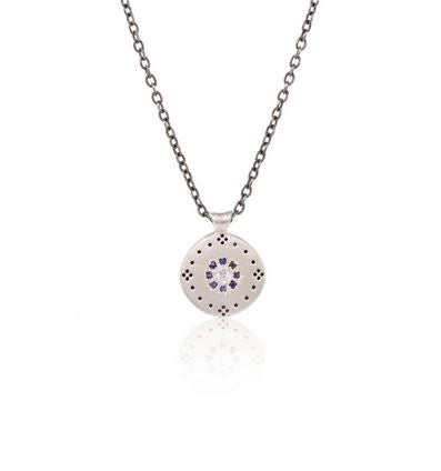 Blue Sky White Star Diamond and Sapphires Pendant Necklace