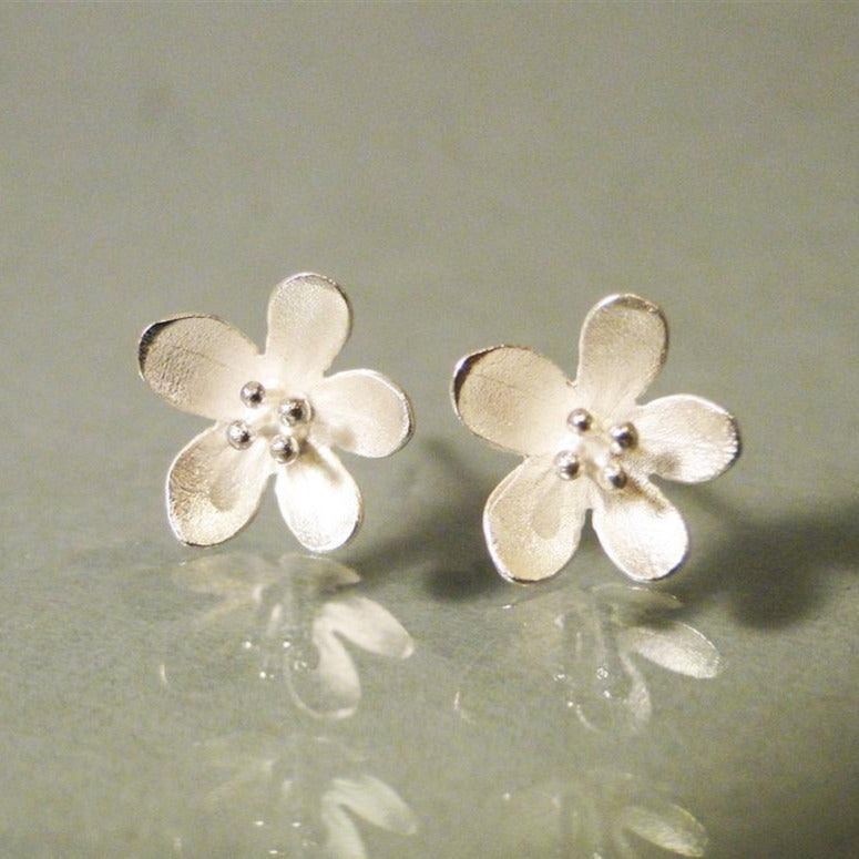 Apple Blossom Sterling Silver Post Earrings