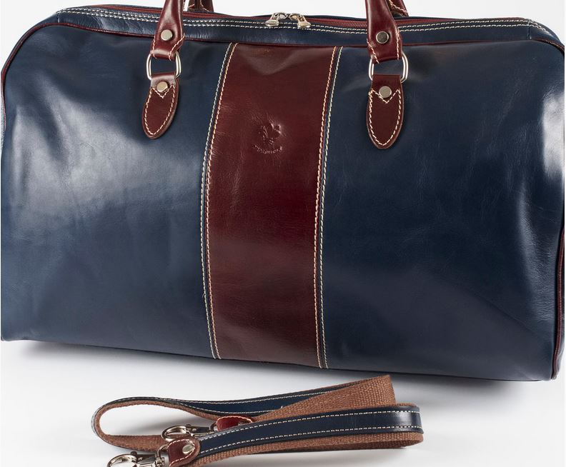 Bellagio Blue/Brown Italian Leather Duffel Bag