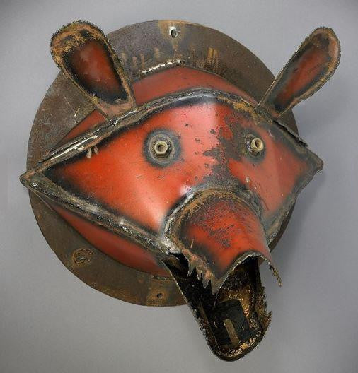 Bear Head Made of Recycled Farm Tools