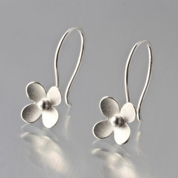 Blossom Brushed Sterling Silver Loop Earrings