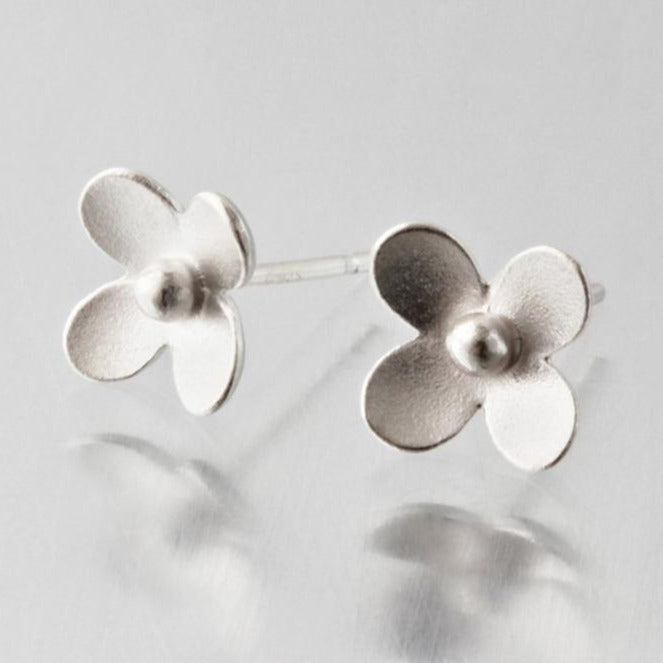 Blossom Brushed Sterling Silver Post Earrings