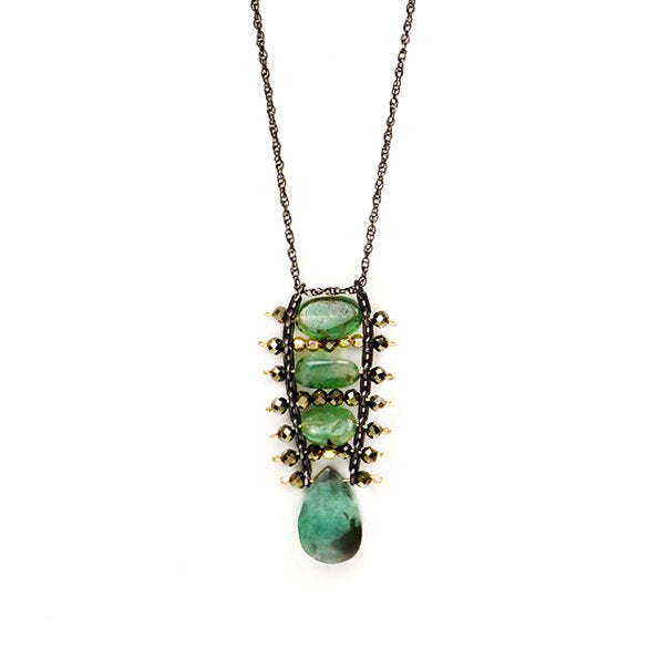 Forest Emerald and Pyrite Ladder Necklace