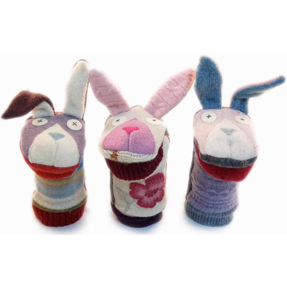 Upcycled Wool Sweater Bunny Puppet