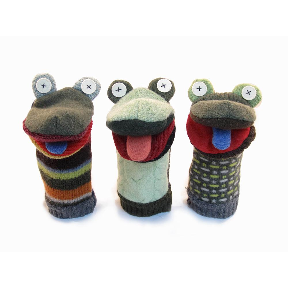 Recycled Wool Frog Puppet
