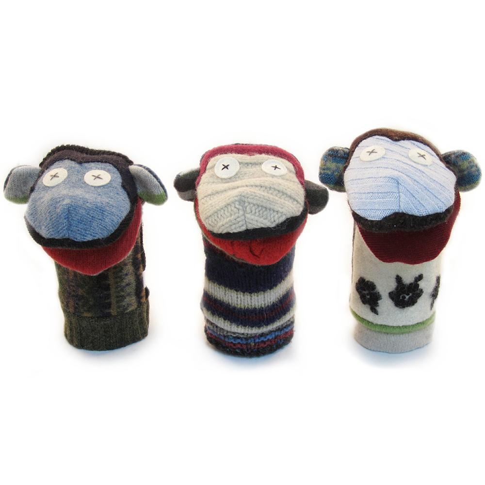 Recycled Wool Monkey Puppet