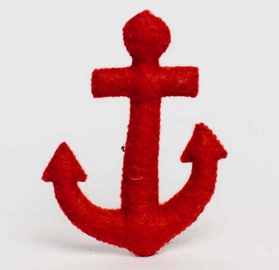 Fair Trade Wool Felt Anchor Ornament
