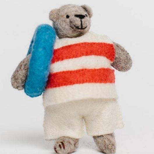 Fair Trade Wool Felt Beach Bear Ornament