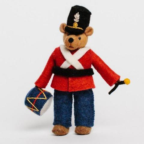 Fair Trade Wool Felt Bear Drummer Ornament