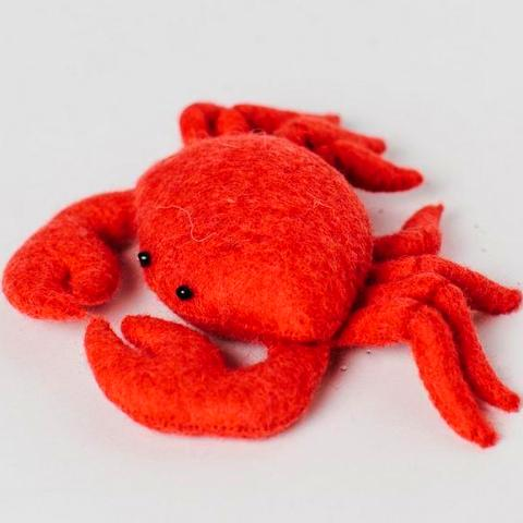 Fair Trade Wool Felt Red Crab Ornament