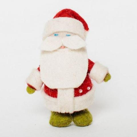 Fair Trade Wool Felt Santa Ornament