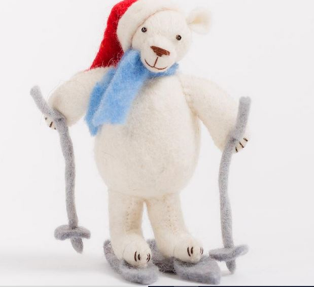Fair Trade Wool Felt Ski Polar Bear Ornament