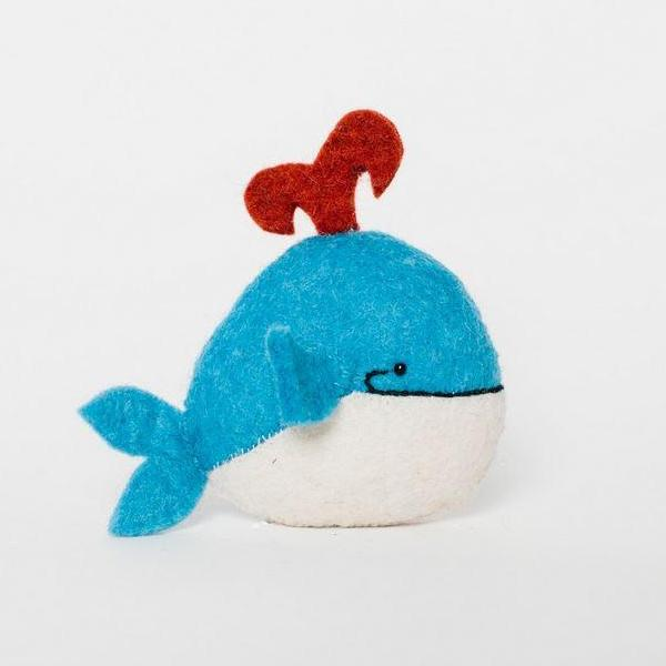 Fair Trade Wool Felt Spouting Whale Ornament
