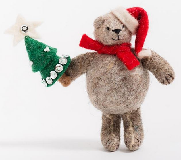 Fair Trade Wool Felt Christmas Bear Ornament