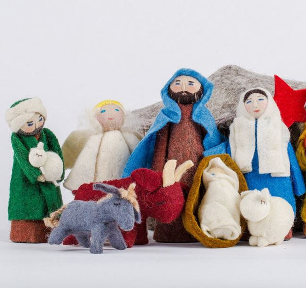 Fair Trade Wool Felt Yurt Nativity Scene