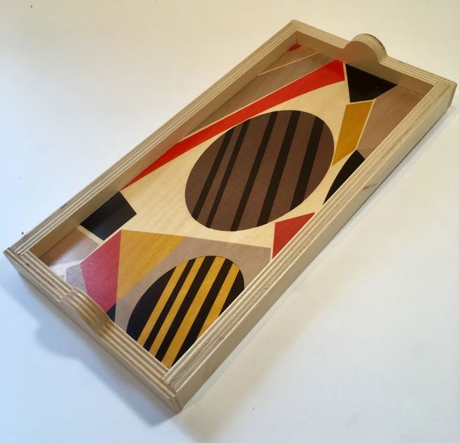 Art Deco Dots and Bars Birch Wood Trays