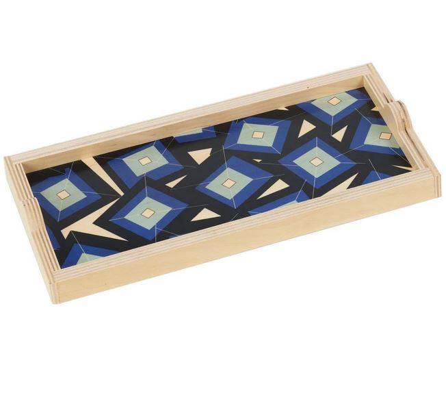 Art Deco Blue Tumbling Blocks Birch Wood Trays
