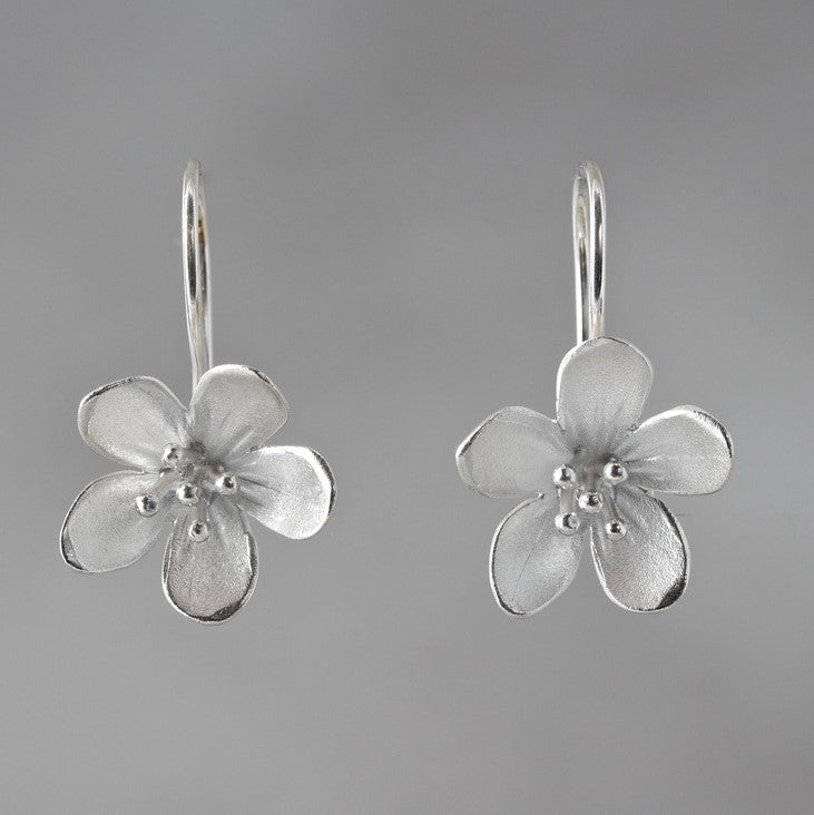 Large Apple Blossom Sterling Silver Loop Earrings