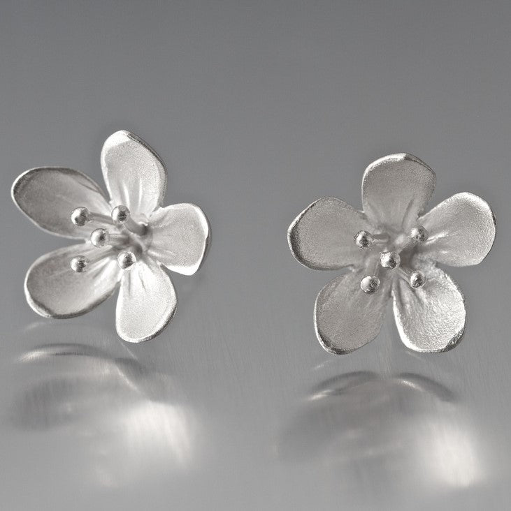 Large Apple Blossom Sterling Silver Post Earrings