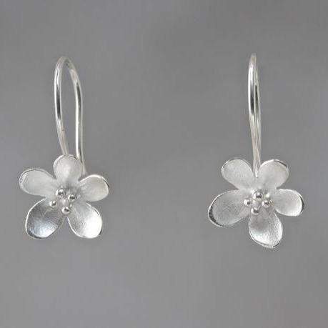 Apple Blossom Sterling Silver Loop Earrings
