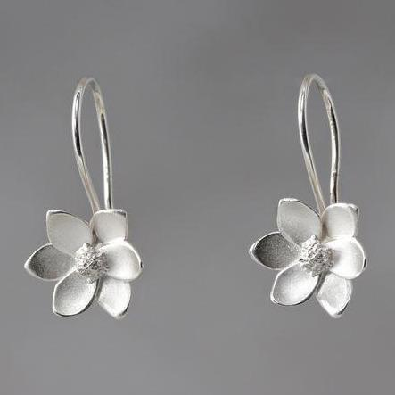 Magnolia Sterling Silver Loop Earrings