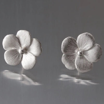 Violet Blossom Sterling Silver Post Earrings