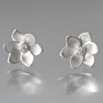 Magnolia Sterling Silver Post Earrings