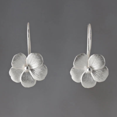 Violet Blossom Sterling Silver Loop Earrings