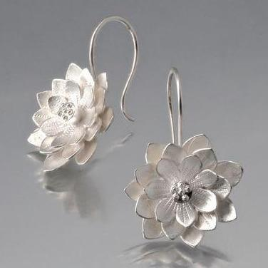 Lotus Sterling Silver Loop Earrings