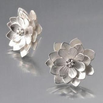Lotus Sterling Silver Post Earrings