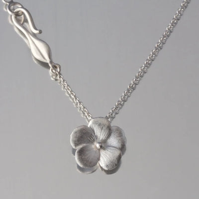 Violet Blossom Sterling Silver Pendant Necklace