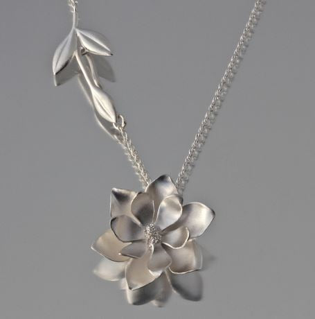 Large Magnolia Sterling Silver Pendant Necklace