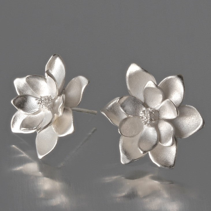 Large Magnolia Sterling Silver Post Earrings