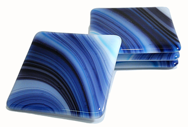 Dark Blue and White Glass Coaster Set