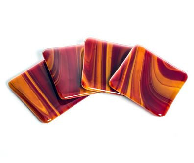 Red and Gold Glass Coaster Set