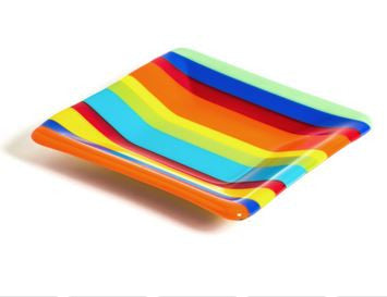 Rainbow Striped Slump Glass Plate