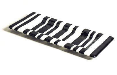Black and White Striped Slump Glass Tray