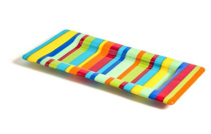Rainbow Striped Slump Glass Tray